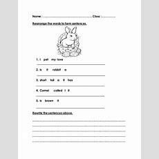 Rearrange Sentence Worksheets Year 1  Google Search  Grade1  Pinterest Sentences