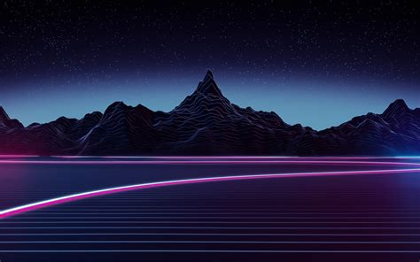 wallpaper highway neon mountains retrowave art