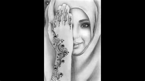 draw muslim girl  hijab pencil sketch easy