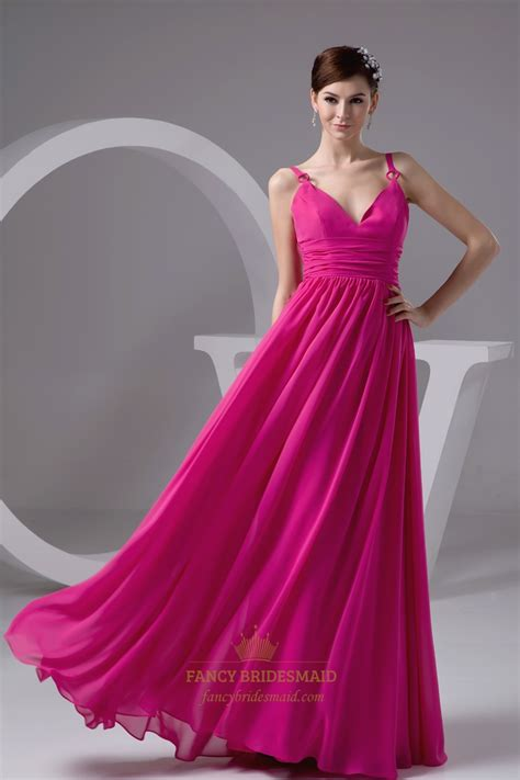 Hot Pink V Neck Spaghetti Strap Chiffon Bridesmaid Dress