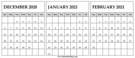printable blank calendar december  january february