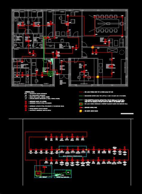 fire alarm system office building dwg block  autocad