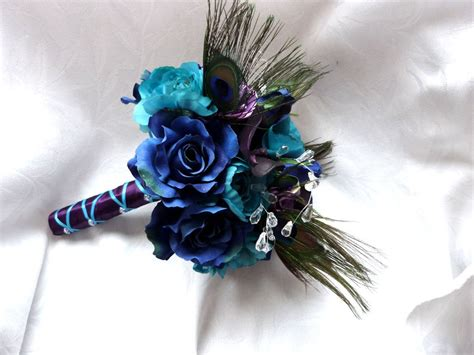 Peacock Feather Wedding Bouquet Turquoise By