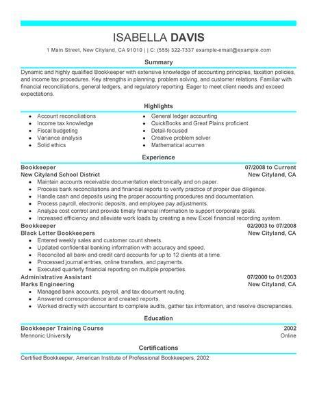 Bookeeper Resume by Bookkeeper Resume Exles Accounting Finance Resume