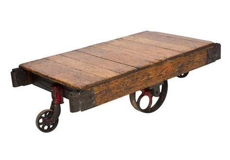 Vintage Oak Wood Factory Cart With Iron Wheels Green Room Ideas Living Paintings For Sale Clipart Modern Corner Tv Units French Country Furniture Toronto Best Colours Fun
