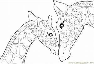 Mother And Baby Giraffe printable coloring page for kids ...
