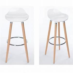 Tabouret De Bar Blanc Et Bois : lot de 2 tabourets de bar cuisine scandinaves chaises de ~ Nature-et-papiers.com Idées de Décoration
