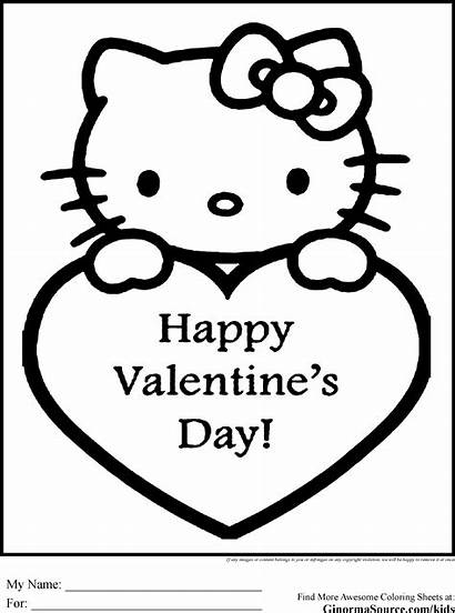 Kitty Hello Coloring Pages Valentine Valentines Getcoloringpages