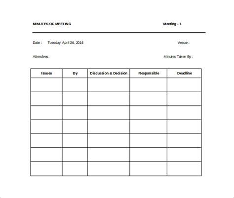 sample meeting minutes templates  google docs
