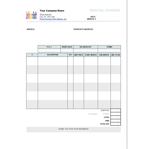 rental invoice template    freewarefiles