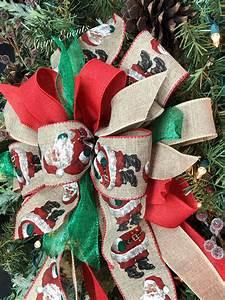 Rustic, Christmas, Bow, Santa, Christmas, Wreath, Bows, Rustic