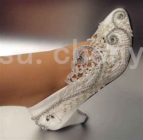 light gold wedding shoes 2 low heel lace white light ivory crystal wedding shoes