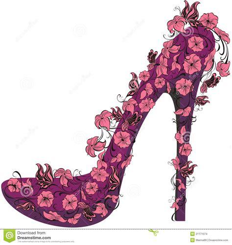 flowers high heel vector illustration stock images