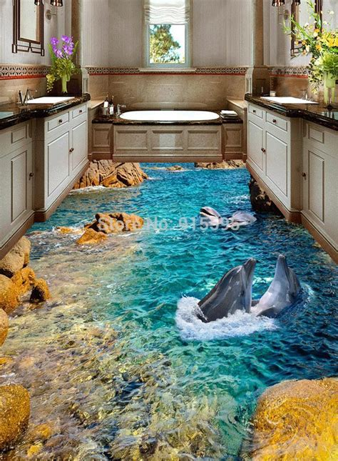 custom hd dolphin seaview  floor stickers hotel bathroom