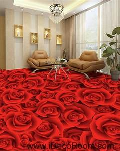 full red romantic roses 00022 floor decals 3d wallpaper With parquet mural