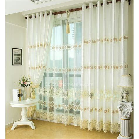 Fancy Embroidery Energy Saving White And Gold Curtains