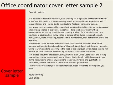 Scheduling Coordinator Cover Letter by Office Coordinator Cover Letter