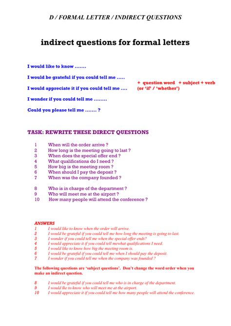 indirect questions  formal letters