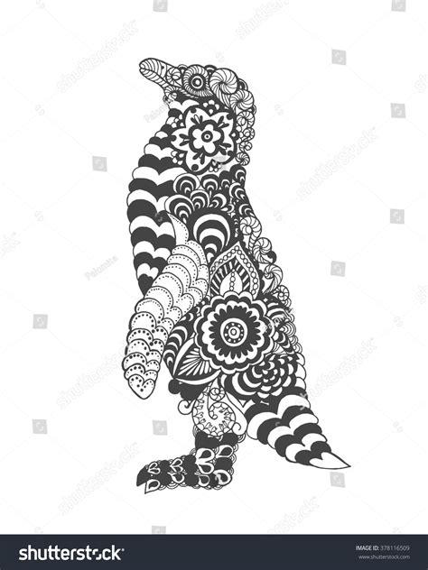 Cute Penguin Adult Antistress Coloring Page Stock Vector