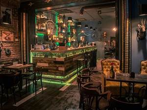Pub dining room table, steampunk pub interior design