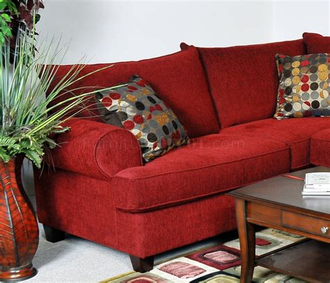 red fabric contemporary sectional sofa wrolled arms