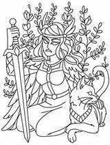 Coloring Pages Gods Norse Mythology Freya Viking Celtic Designs Embroidery Urban Urbanthreads Threads Unique Adult Patterns Goddess Printable Tattoo Craft sketch template