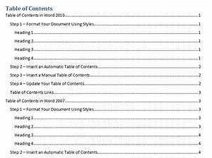 best photos of create table contents how to do table of With table of contents template word 2010