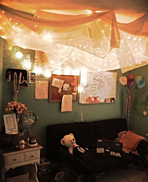 string lights  sheer fabric hung   ceiling