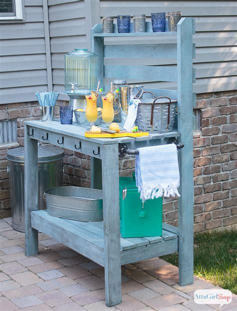 DIY Potting Bench & Outdoor Buffet Table - Atta Girl Says