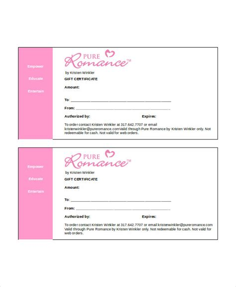 gift certificate template word   word documents