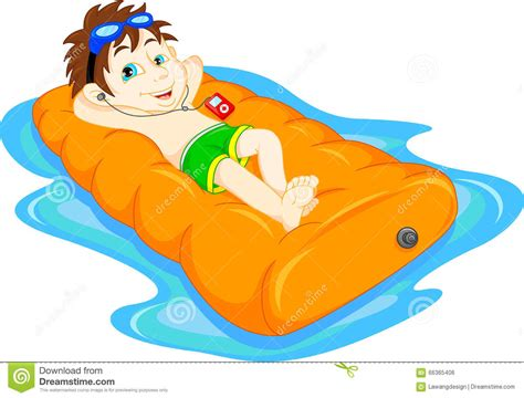 Cartoon Boy Floating With Inflatable Ring Vector