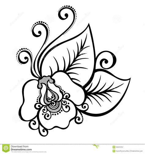 decorative flower and leaf designs decorative flower with leaves stock vector illustration 34572757