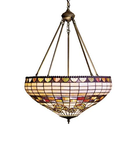 stained glass inverted pendant light meyda tiffany 23 quot stained art glass edwardian inverted