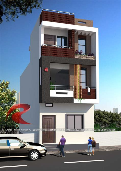 narrow house designs gallery rc visualization structural plan elevation narrow house