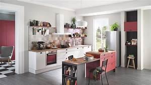 Cuisine equipee design avec ilot vega prem39s blanche for Idee deco cuisine avec cuisine Équipée et aménagée