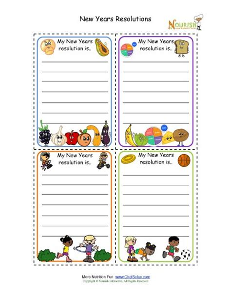 new year resolutions printable kid free new year resolution cards for children