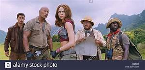 JUMANJI: WELCOME TO THE JUNGLE 2017 film with from left ...