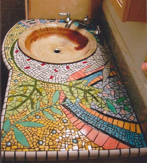 mosaic countertop handpainted tile mosaic counter bathroom counter mosaic