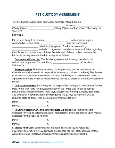 pet custody agreement template  facts   knew