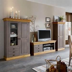 Wohnwand Grau Holz : wohnwand mangali in grau aus kiefer massivholz ~ Indierocktalk.com Haus und Dekorationen