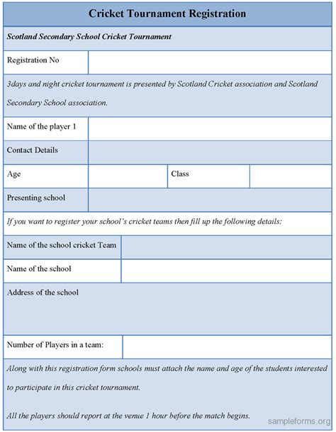 Tournament Application Form Template by Cricket Tournament Registration Form Sle Forms