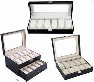 leather watch box display case organizer glass top jewelry With glass document display case