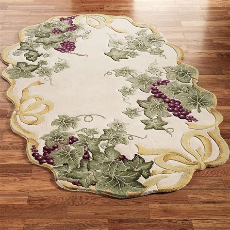 grape design kitchen rugs ribbon and grapes oval area rugs 3907