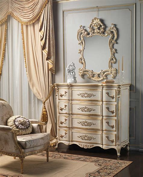 classic louis xvi bedroom chest  drawers  mirror