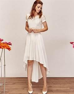 robe de mariee asymetrique fluide et moderne courte devant With robe pour mariage cette combinaison bague en or