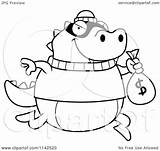Lizard Bank Cartoon Clipart Robbing Coloring Outlined Vector Thoman Cory Royalty sketch template