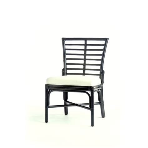 ladder back rattan dining side chair with upholstered seat