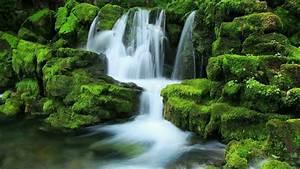 Waterfall, Stream, Between, Algae, Covered, Rocks, During