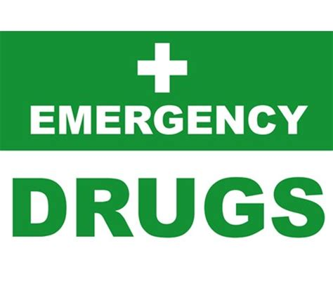 black paper towel holder sign emergency drugs laminated a4