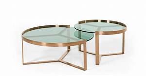 Aula nesting coffee table copper and green glass madecom for Glass nesting coffee tables